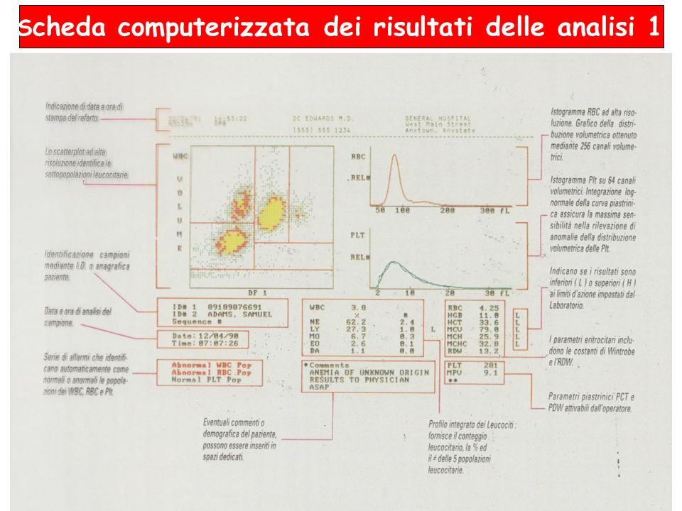 Scheda computerizzata dei risultati delle analisi 1