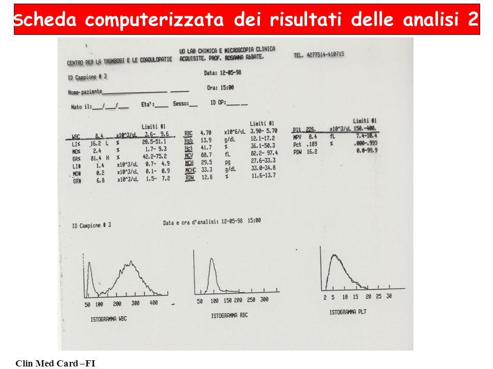 Scheda computerizzata dei risultati delle analisi 2