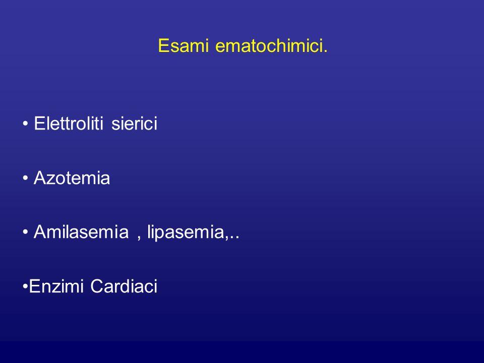 Elettroliti sierici Azotemia Amilasemia , lipasemia,.. Enzimi Cardiaci