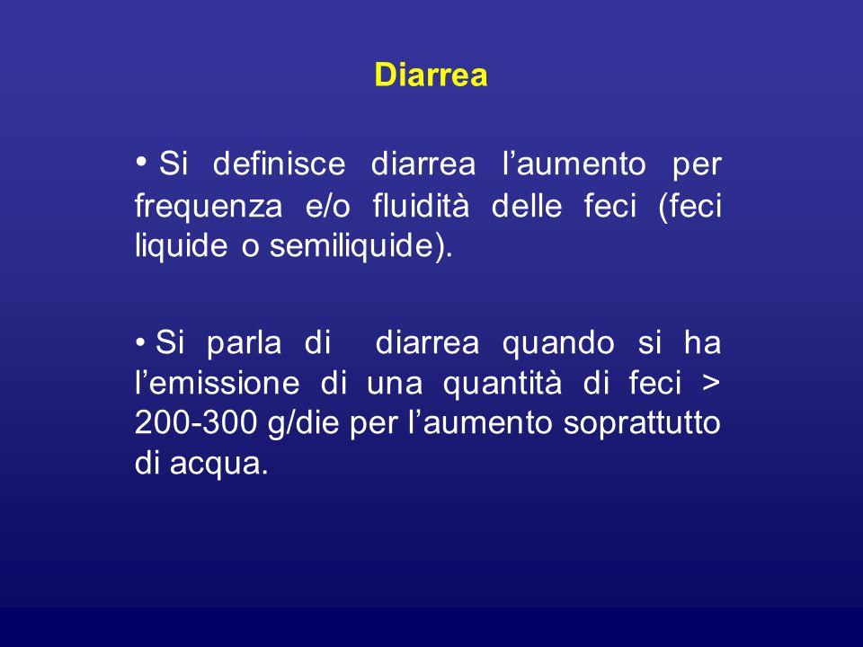 Diarrea Si definisce diarrea l'aumento per frequenza e/o fluidità delle feci (feci liquide o semiliquide).