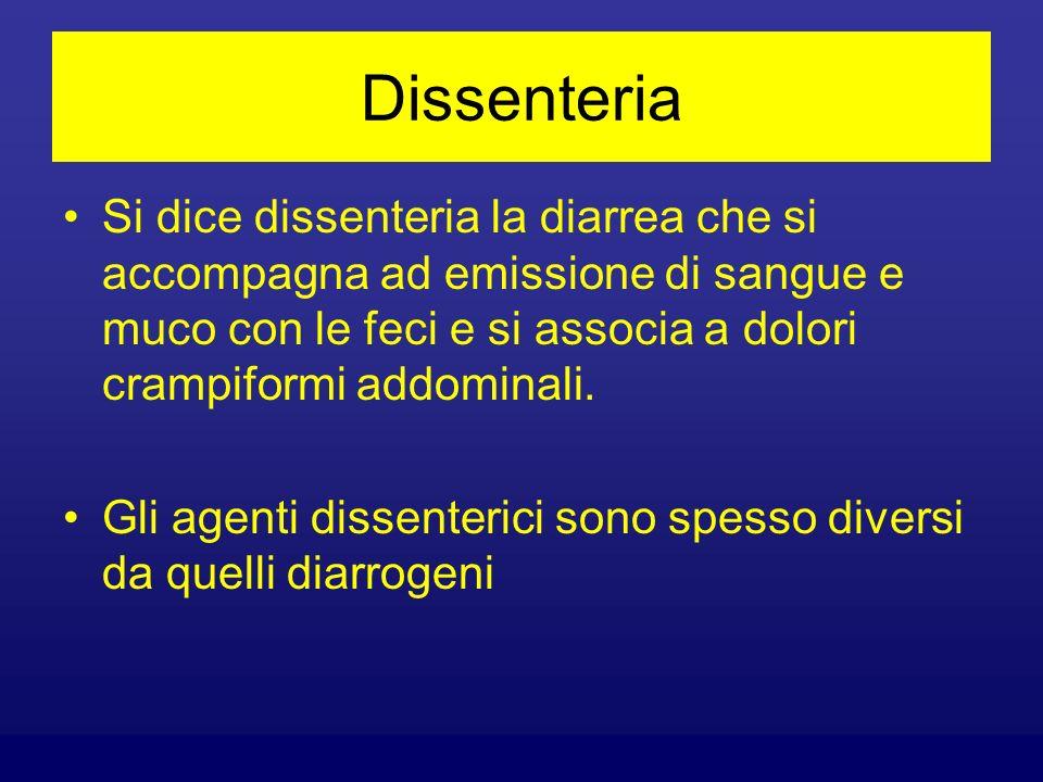 Dissenteria Si dice dissenteria la diarrea che si accompagna ad emissione di sangue e muco con le feci e si associa a dolori crampiformi addominali.