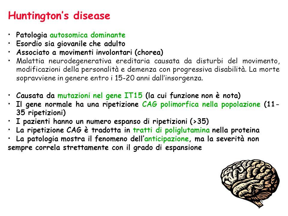Huntington's disease Patologia autosomica dominante