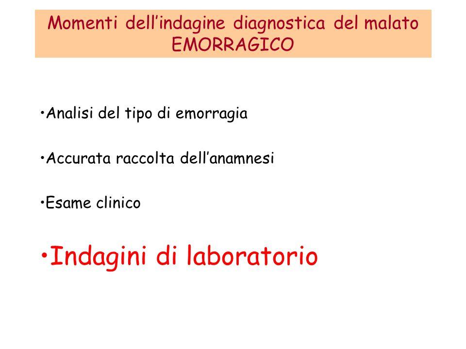 Momenti dell'indagine diagnostica del malato EMORRAGICO