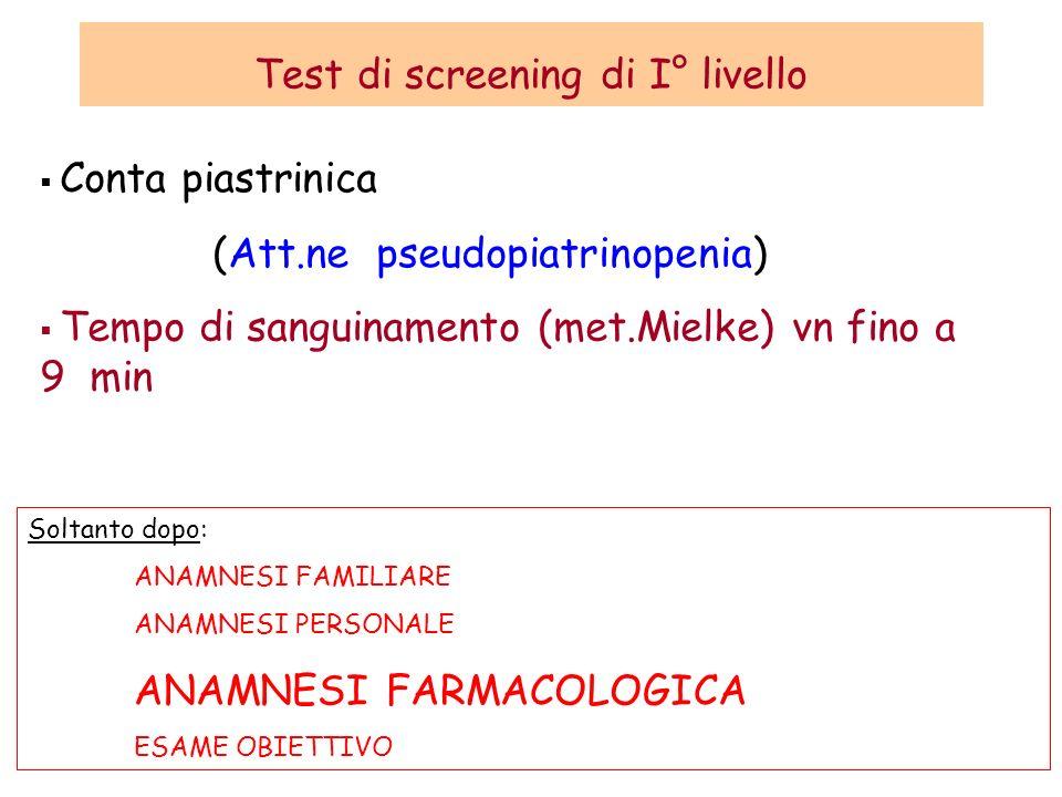 Test di screening di I° livello