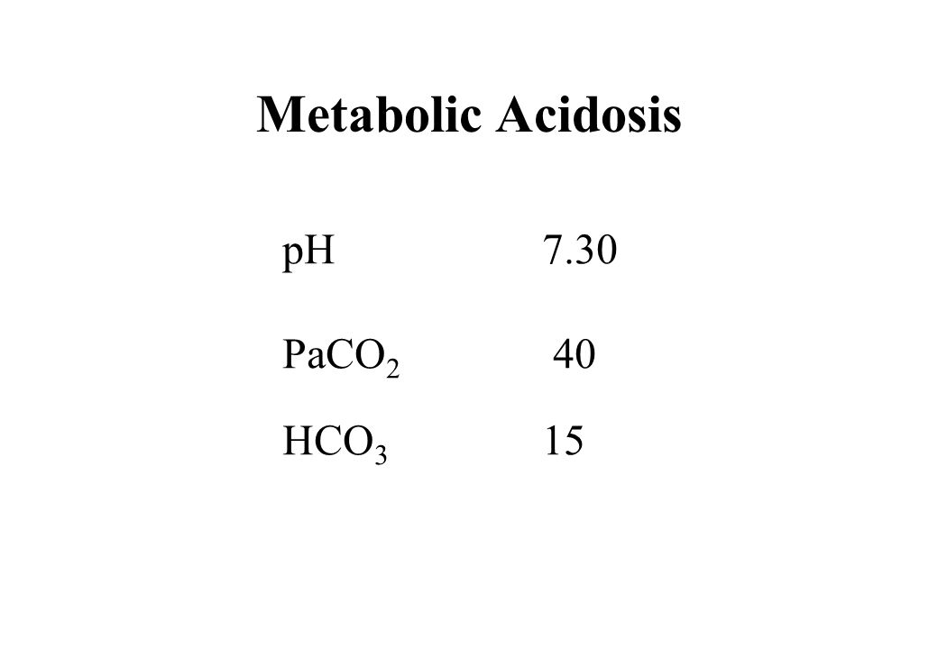 Metabolic Acidosis pH 7.30 PaCO2 40 HCO3 15