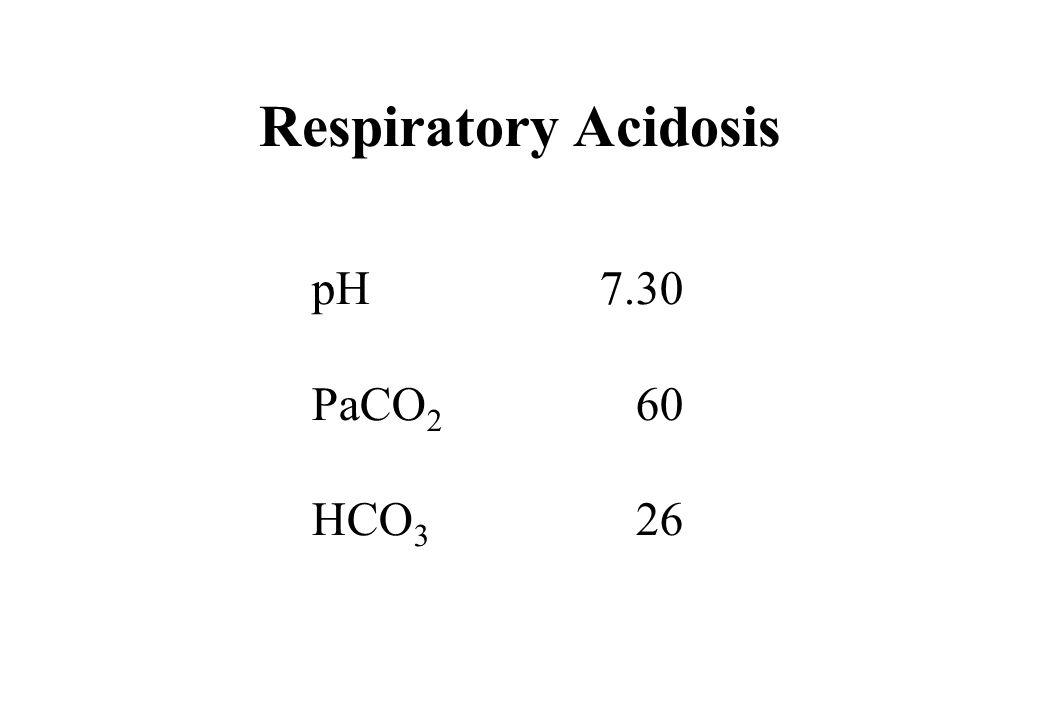 Respiratory Acidosis pH 7.30 PaCO2 60 HCO3 26