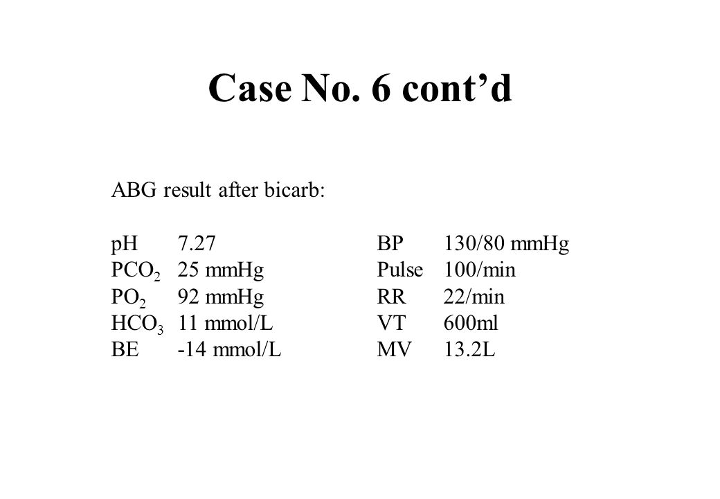 Case No. 6 cont'd ABG result after bicarb: pH 7.27 BP 130/80 mmHg