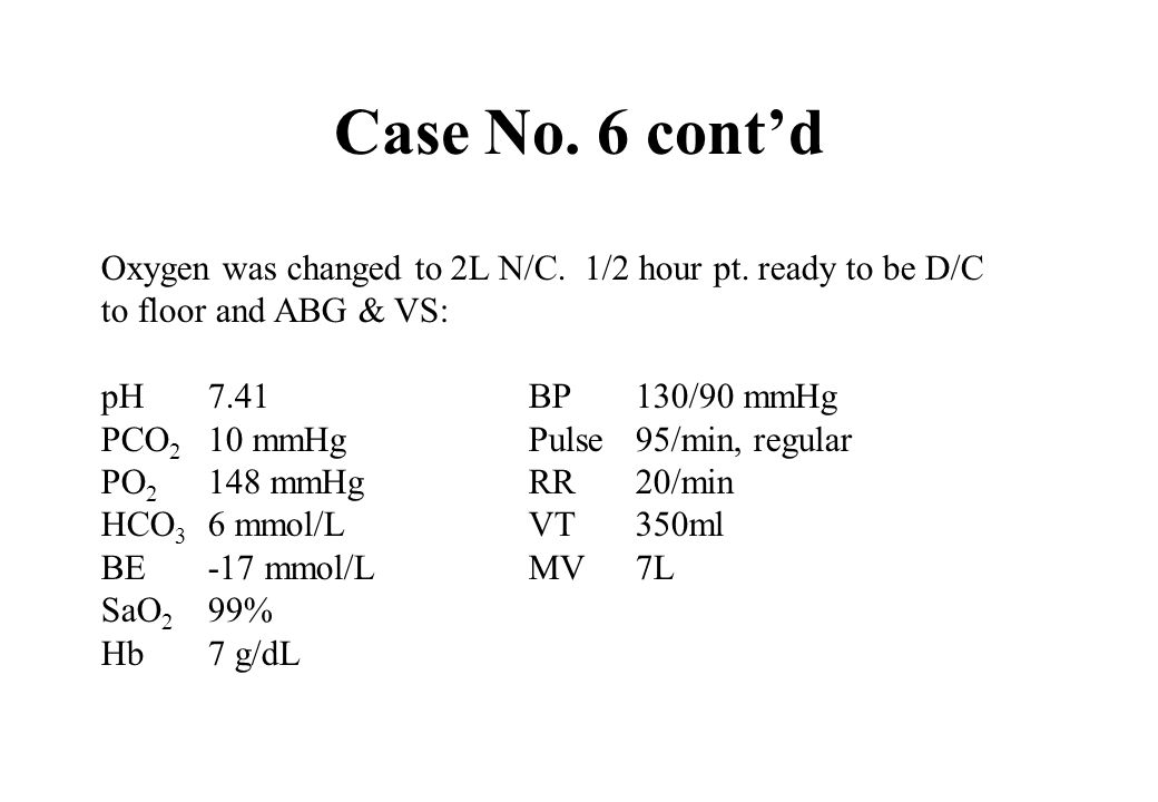 Case No. 6 cont'dOxygen was changed to 2L N/C. 1/2 hour pt. ready to be D/C. to floor and ABG & VS: