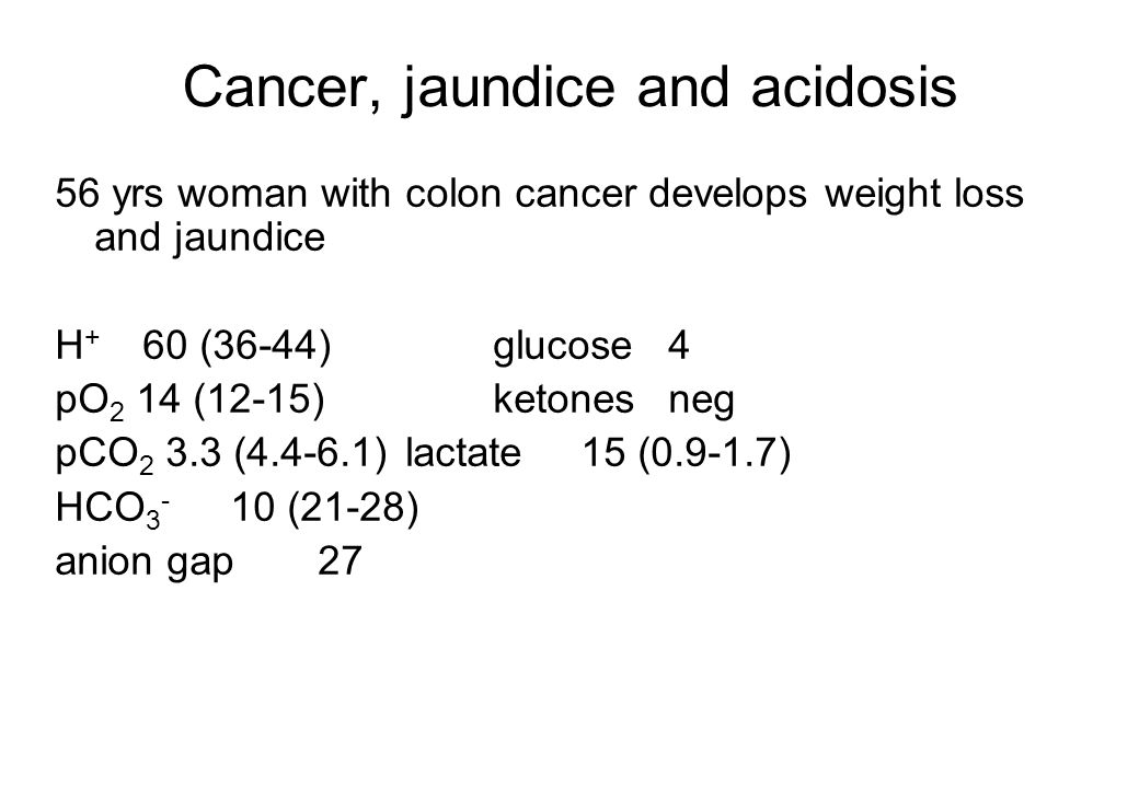 Cancer, jaundice and acidosis