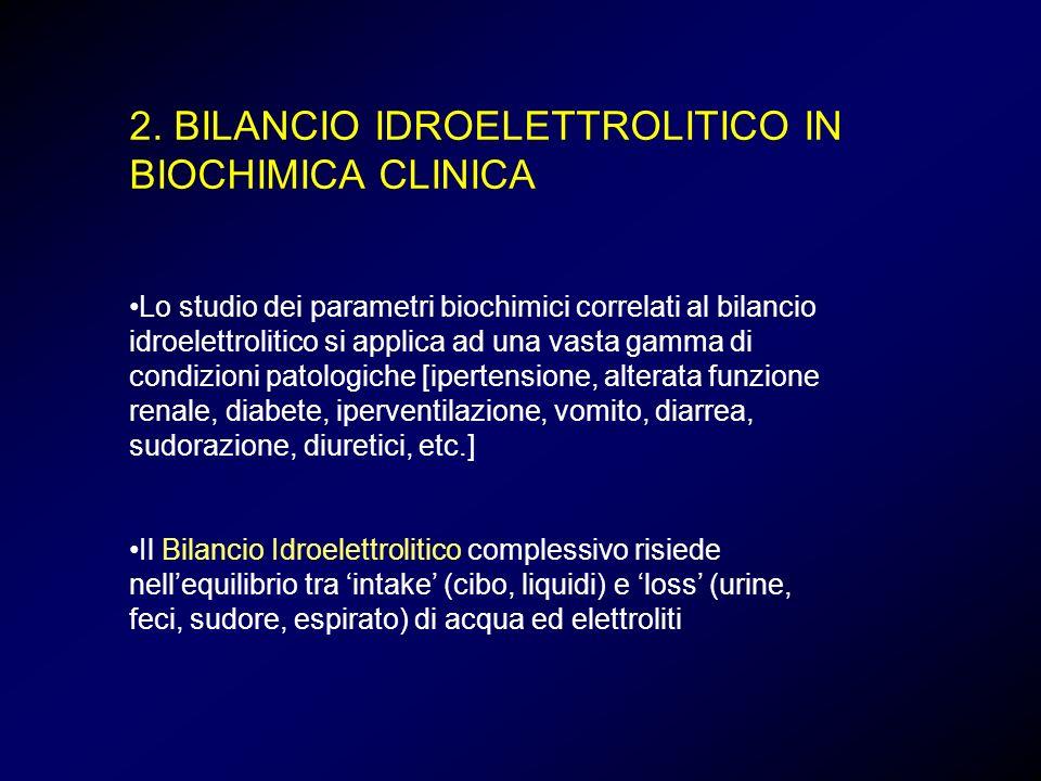 2. BILANCIO IDROELETTROLITICO IN BIOCHIMICA CLINICA