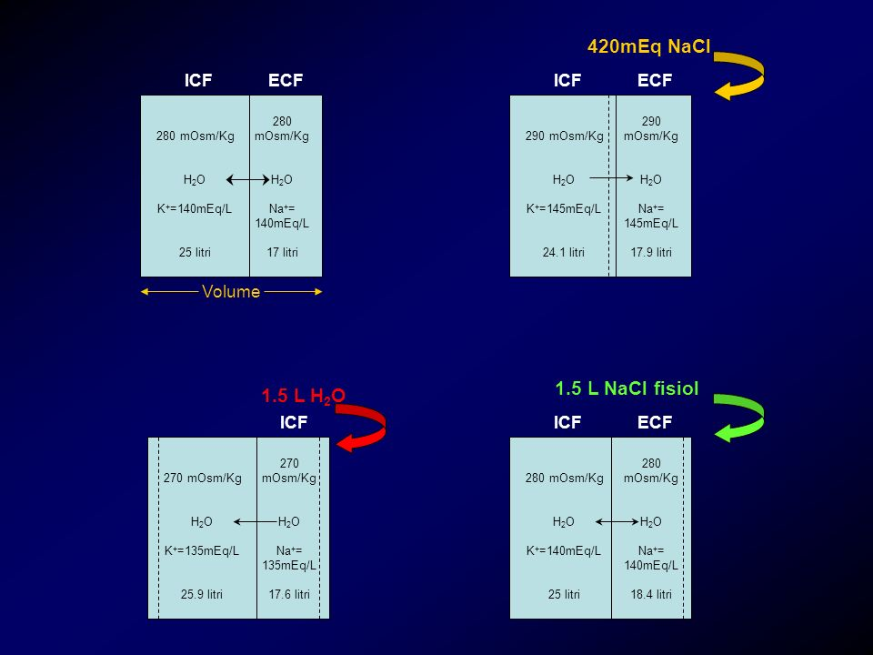 420mEq NaCl 1.5 L NaCl fisiol 1.5 L H2O ICF ECF ICF ECF Volume ICF
