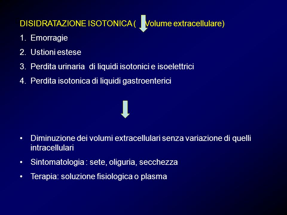 DISIDRATAZIONE ISOTONICA ( Volume extracellulare) Emorragie