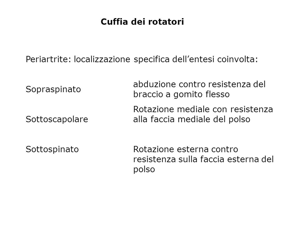 Cuffia dei rotatori Periartrite: localizzazione specifica dell'entesi coinvolta: Sopraspinato. Sottoscapolare.