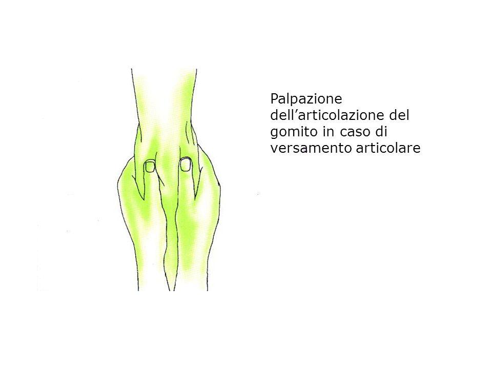 Palpazione dell'articolazione del gomito in caso di versamento articolare