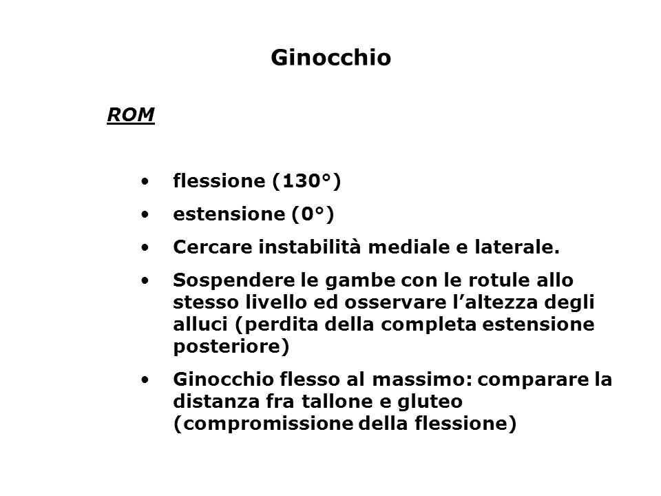 Ginocchio ROM flessione (130°) estensione (0°)