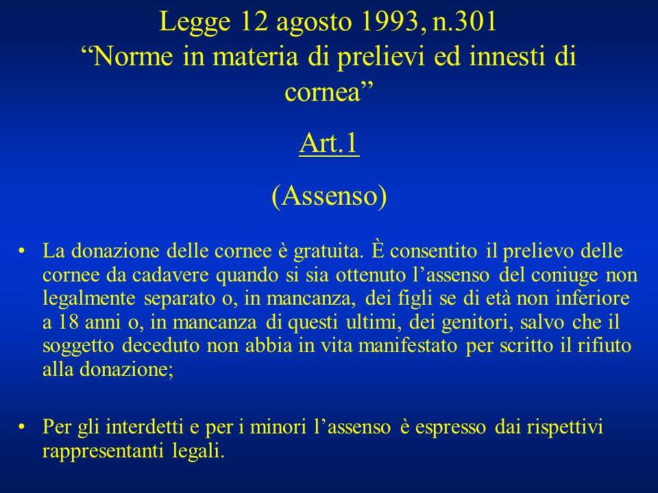 Legge 12 agosto 1993, n.301 Norme in materia di prelievi ed innesti di cornea