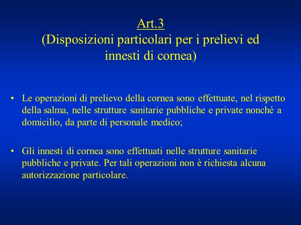 Art.3 (Disposizioni particolari per i prelievi ed innesti di cornea)