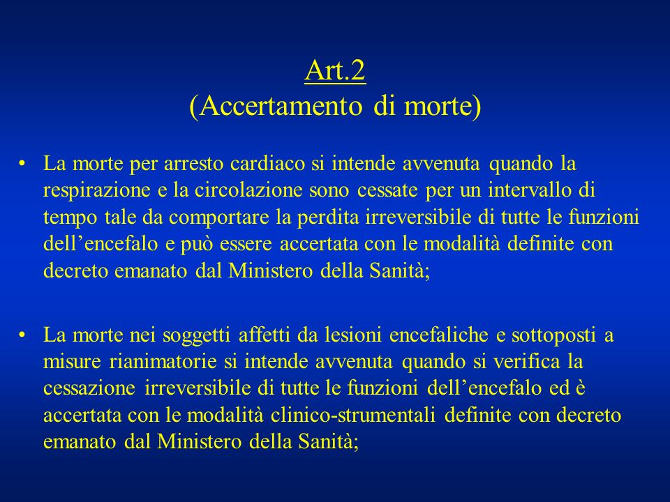 Art.2 (Accertamento di morte)