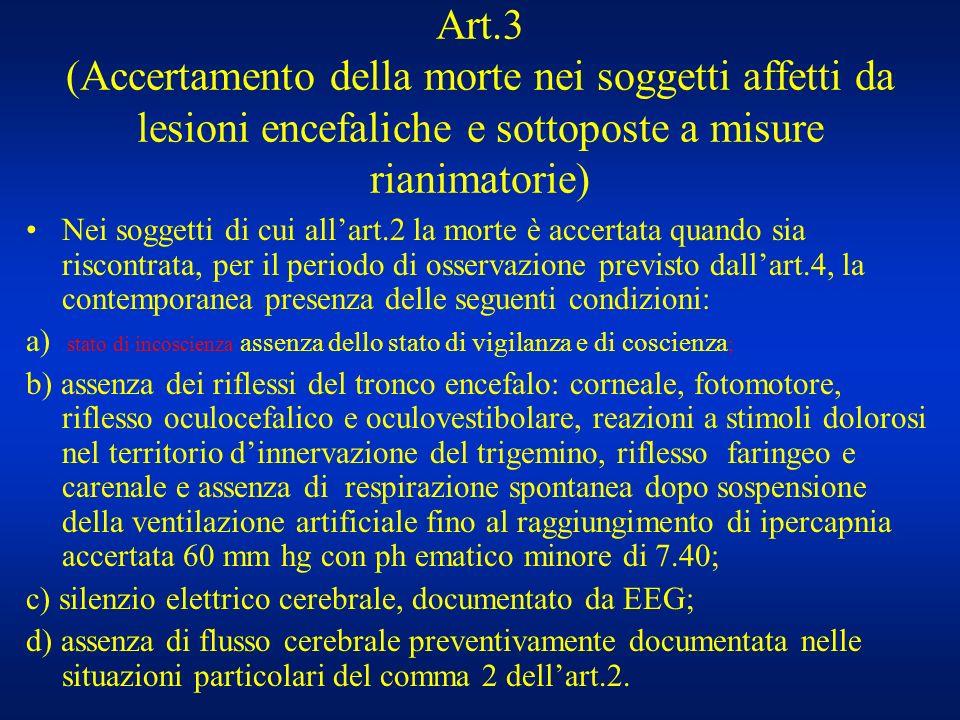 Art.3 (Accertamento della morte nei soggetti affetti da lesioni encefaliche e sottoposte a misure rianimatorie)