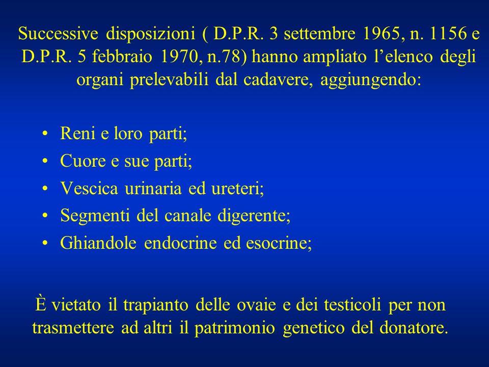 Successive disposizioni ( D. P. R. 3 settembre 1965, n. 1156 e D. P. R