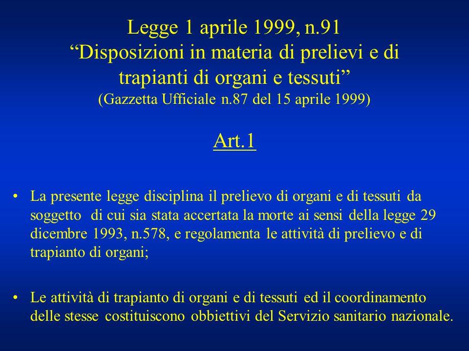 Legge 1 aprile 1999, n.91 Disposizioni in materia di prelievi e di trapianti di organi e tessuti (Gazzetta Ufficiale n.87 del 15 aprile 1999)