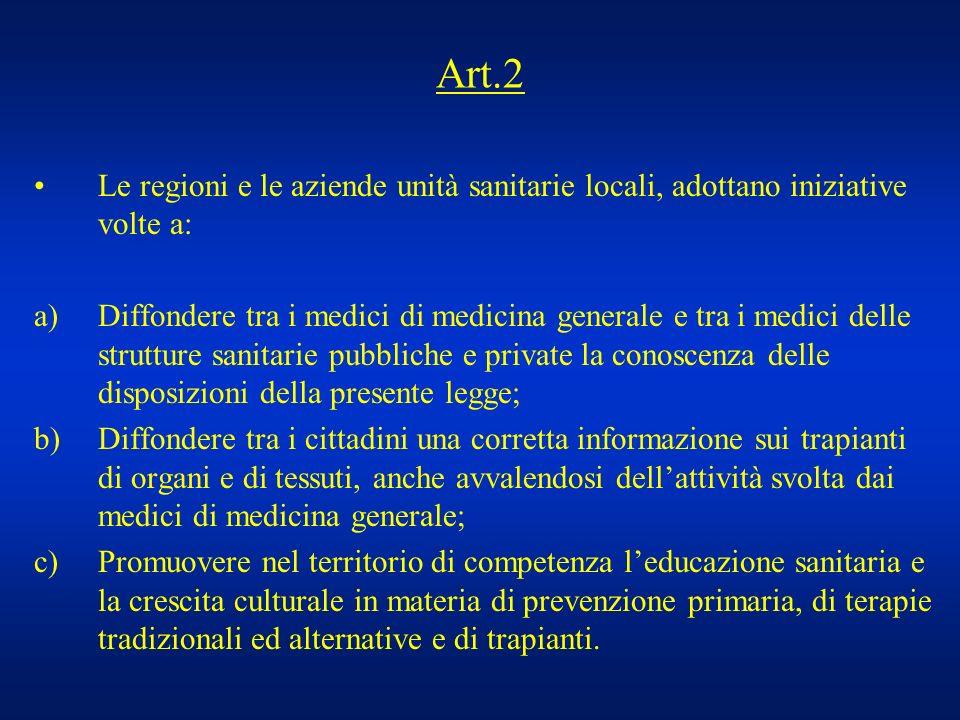 Art.2 Le regioni e le aziende unità sanitarie locali, adottano iniziative volte a: