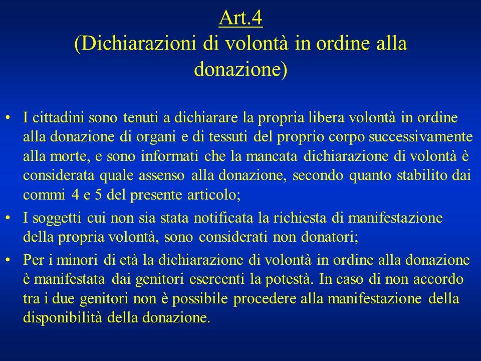 Art.4 (Dichiarazioni di volontà in ordine alla donazione)
