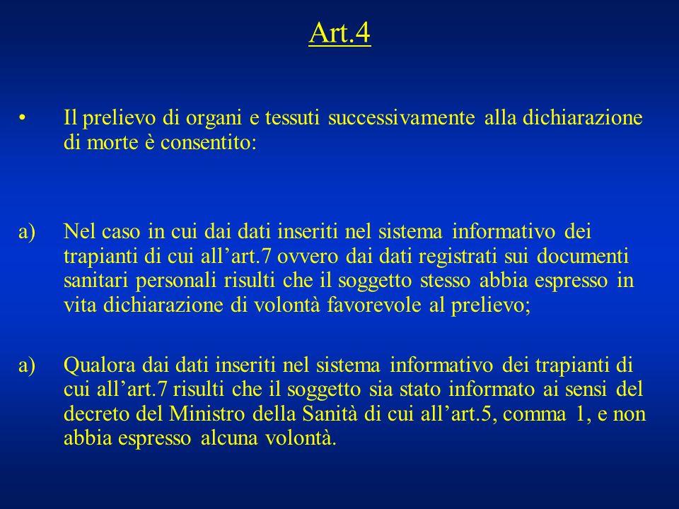 Art.4 Il prelievo di organi e tessuti successivamente alla dichiarazione di morte è consentito: