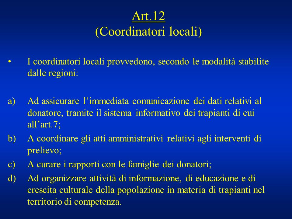 Art.12 (Coordinatori locali)