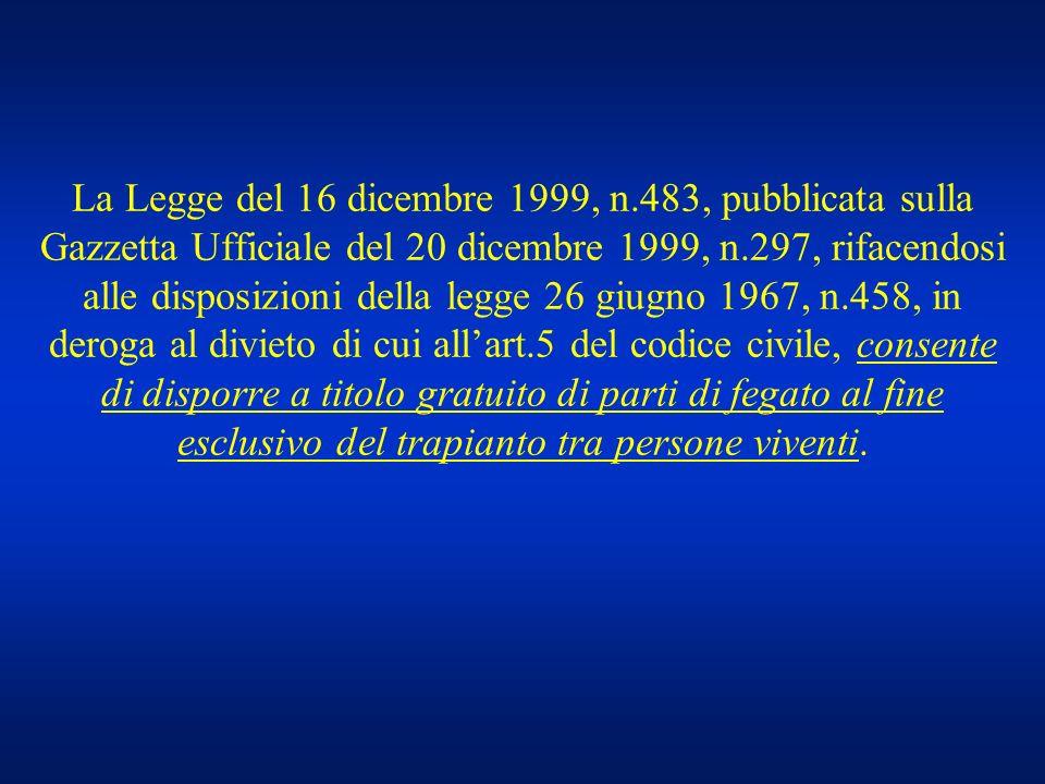 La Legge del 16 dicembre 1999, n.483, pubblicata sulla Gazzetta Ufficiale del 20 dicembre 1999, n.297, rifacendosi alle disposizioni della legge 26 giugno 1967, n.458, in deroga al divieto di cui all'art.5 del codice civile, consente di disporre a titolo gratuito di parti di fegato al fine esclusivo del trapianto tra persone viventi.
