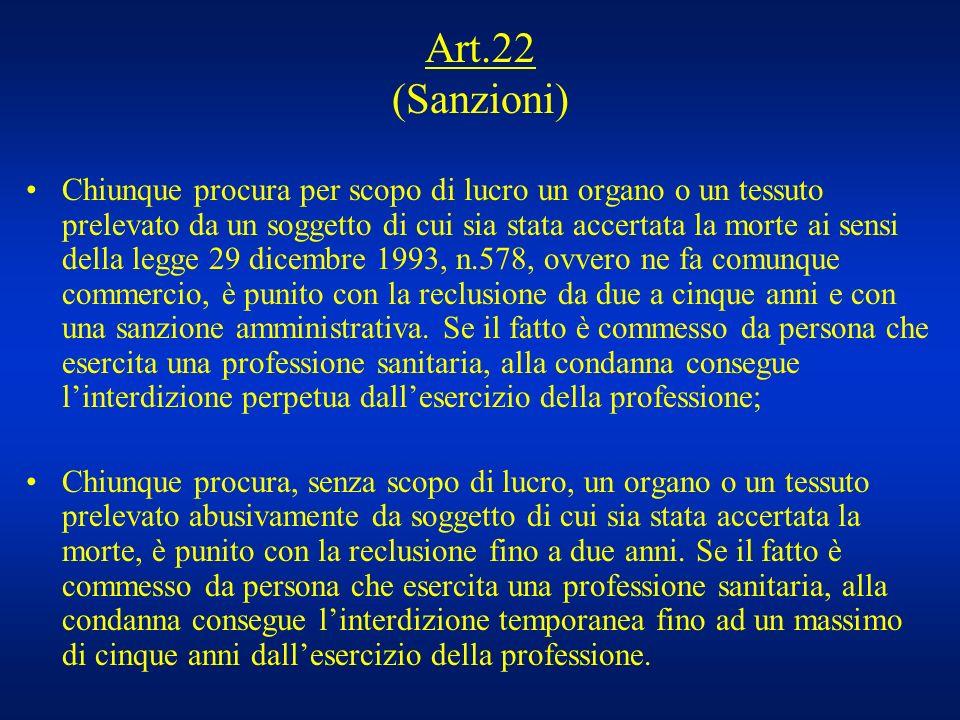 Art.22 (Sanzioni)