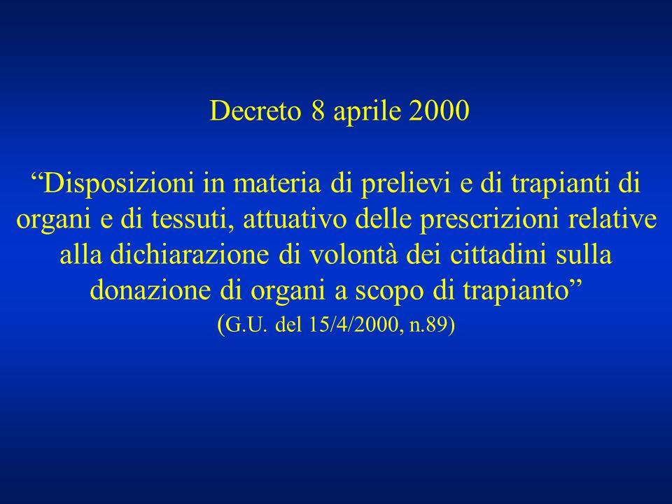 Decreto 8 aprile 2000 Disposizioni in materia di prelievi e di trapianti di organi e di tessuti, attuativo delle prescrizioni relative alla dichiarazione di volontà dei cittadini sulla donazione di organi a scopo di trapianto (G.U.