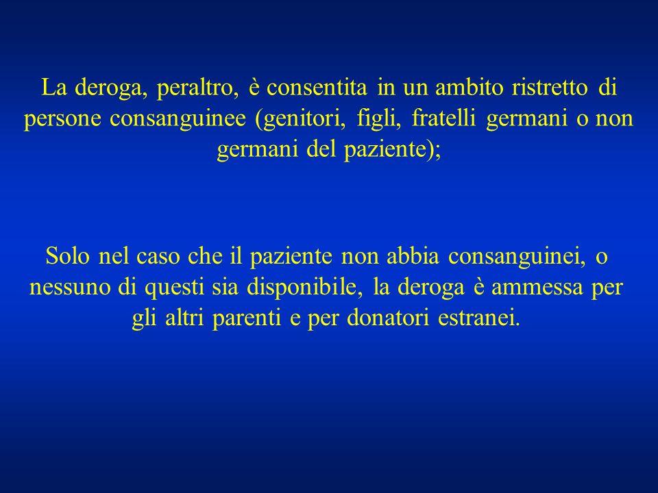 La deroga, peraltro, è consentita in un ambito ristretto di persone consanguinee (genitori, figli, fratelli germani o non germani del paziente);