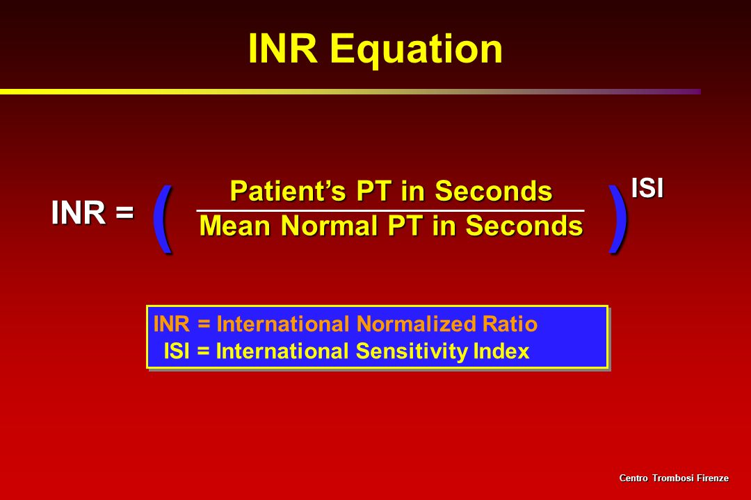 Patient's PT in Seconds Mean Normal PT in Seconds