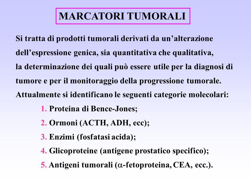 MARCATORI TUMORALI Si tratta di prodotti tumorali derivati da un'alterazione dell'espressione genica, sia quantitativa che qualitativa,