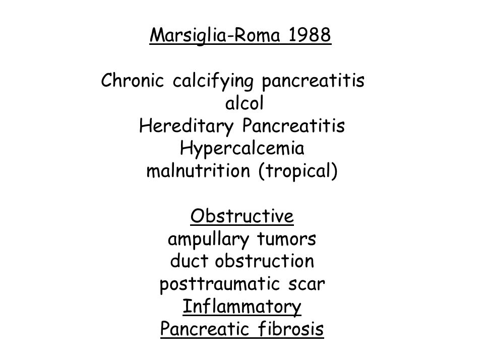 Marsiglia-Roma 1988. Chronic calcifying pancreatitis