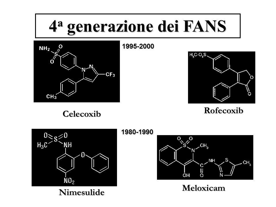 4a generazione dei FANS Rofecoxib Celecoxib Meloxicam Nimesulide
