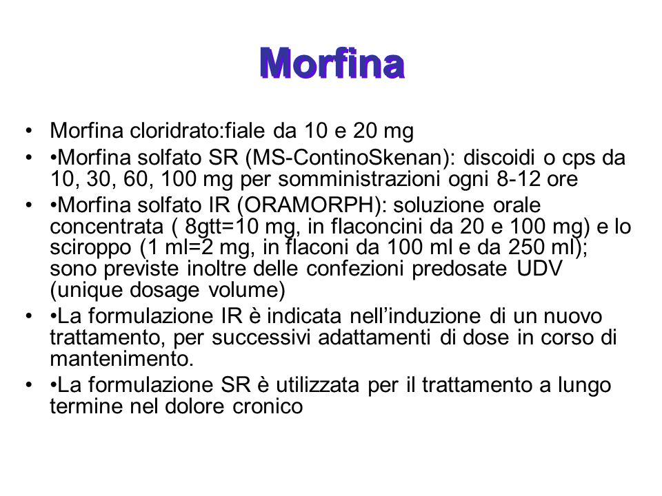 Morfina Morfina cloridrato:fiale da 10 e 20 mg