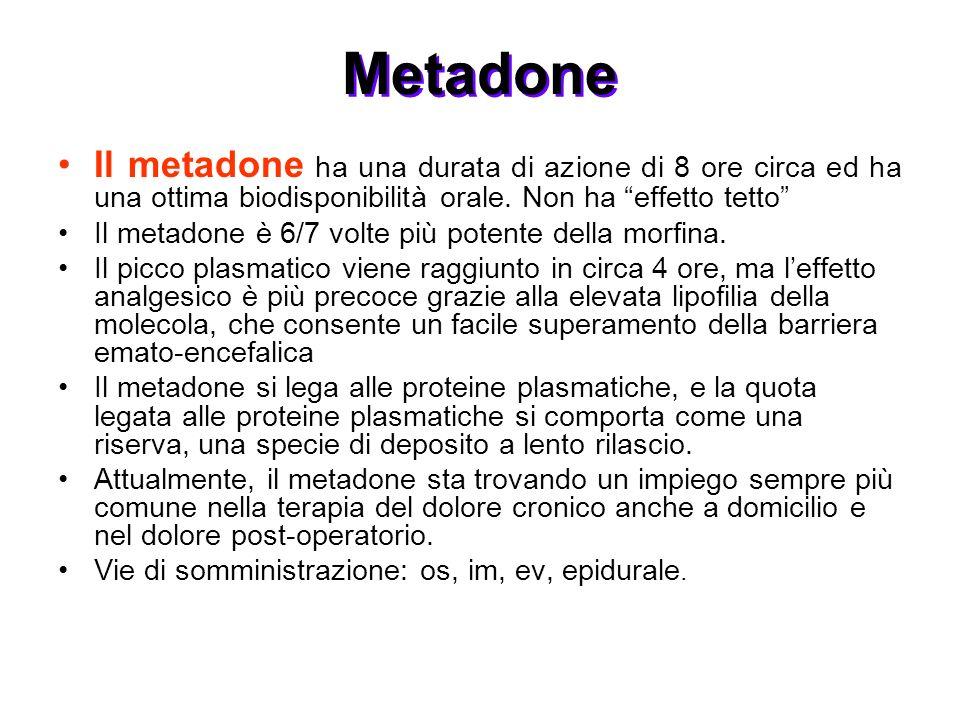 Metadone Il metadone ha una durata di azione di 8 ore circa ed ha una ottima biodisponibilità orale. Non ha effetto tetto