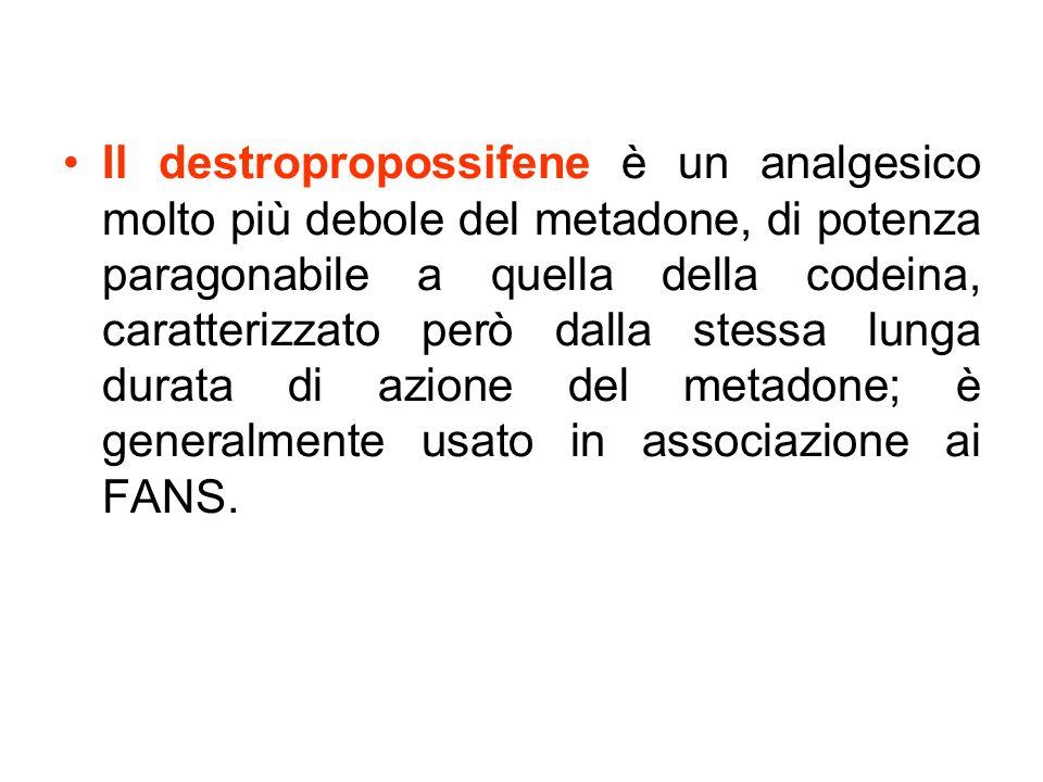 Il destropropossifene è un analgesico molto più debole del metadone, di potenza paragonabile a quella della codeina, caratterizzato però dalla stessa lunga durata di azione del metadone; è generalmente usato in associazione ai FANS.