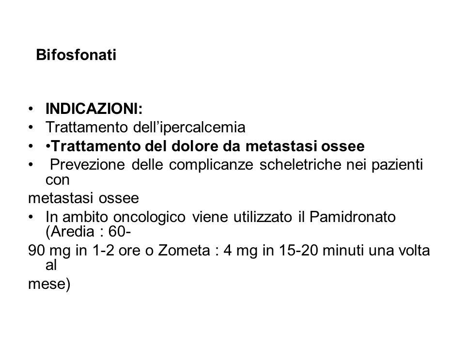 Bifosfonati INDICAZIONI: Trattamento dell'ipercalcemia. •Trattamento del dolore da metastasi ossee.