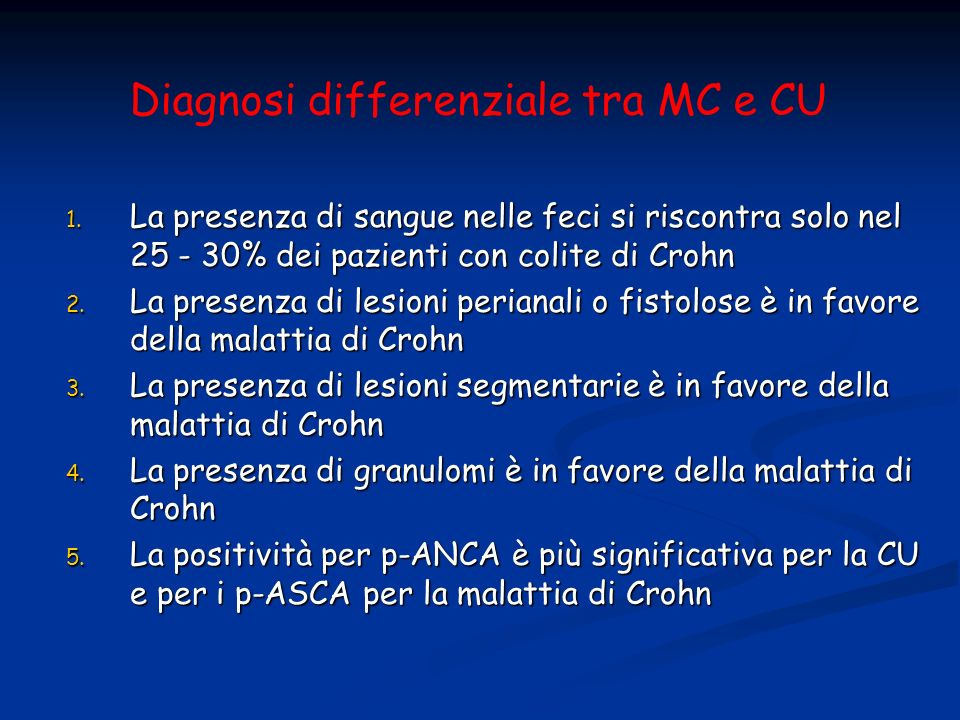 Diagnosi differenziale tra MC e CU