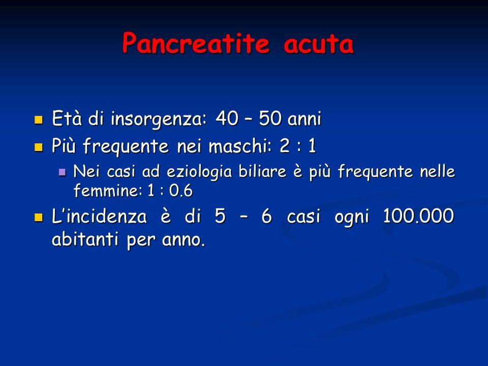 Pancreatite acuta Età di insorgenza: 40 – 50 anni