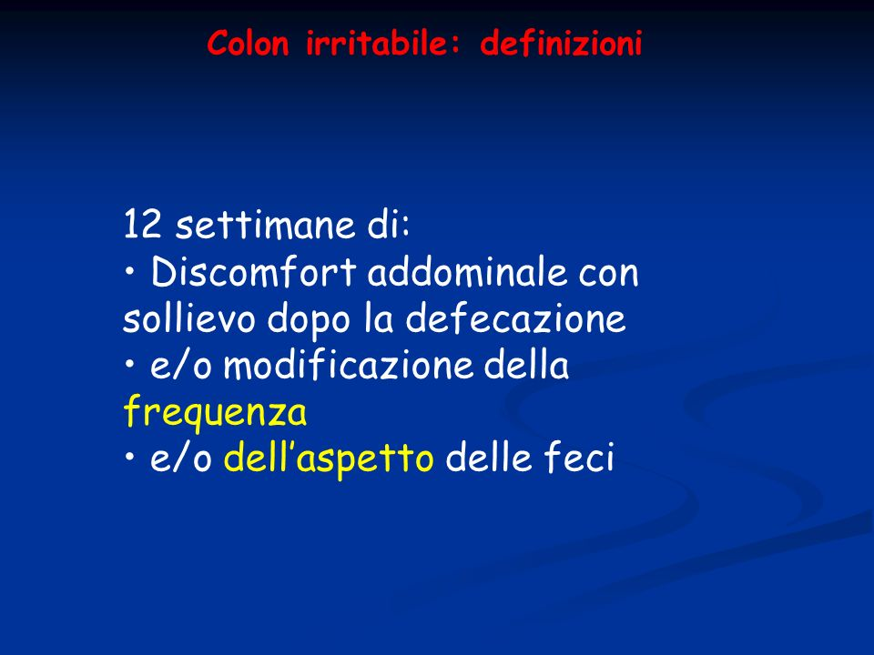 Colon irritabile: definizioni