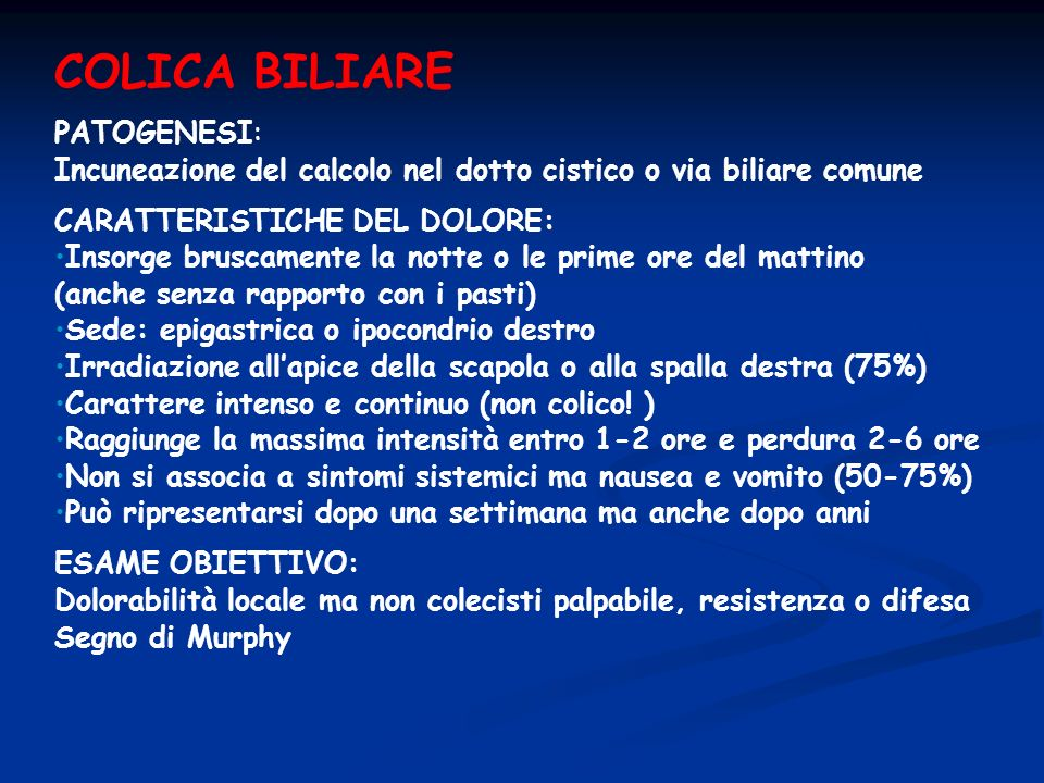 COLICA BILIARE PATOGENESI: