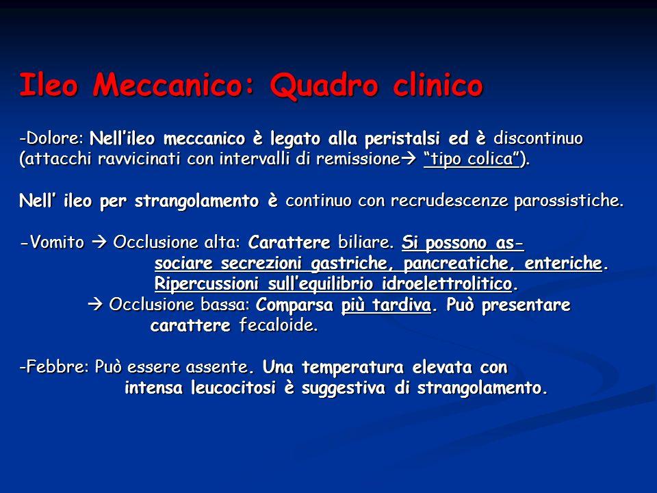 Ileo Meccanico: Quadro clinico -Dolore: Nell'ileo meccanico è legato alla peristalsi ed è discontinuo (attacchi ravvicinati con intervalli di remissione tipo colica ).