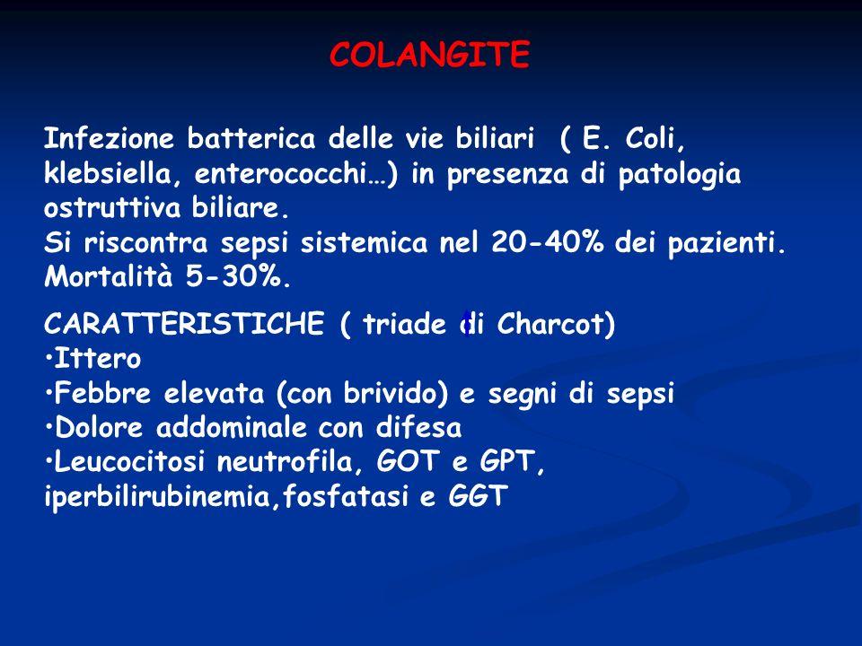 COLANGITEInfezione batterica delle vie biliari ( E. Coli, klebsiella, enterococchi…) in presenza di patologia ostruttiva biliare.