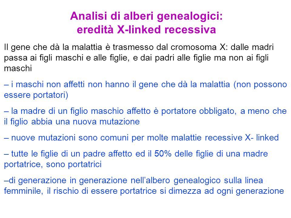 Analisi di alberi genealogici: eredità X-linked recessiva