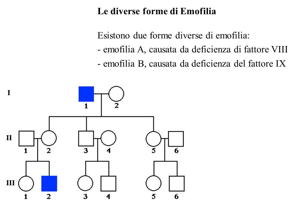 Le diverse forme di Emofilia
