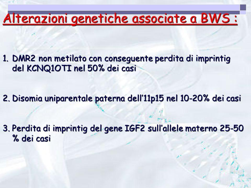 Alterazioni genetiche associate a BWS :
